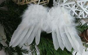 Shabby Chic Natale : Ali d angelo in piume decorazione di natale bianco shabby chic