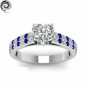 Heart-White-amp-Blue-Sapphire-Wedding-Promise-Band-Ring-18K-Silver-White-Gold-Filled