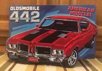 Oldsmobile 442 Car Embossed Raised Metal Rat Rod Coupe Man Cave Garage Emblem