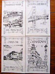 4-1970-D-B-McAUSLAND-SAN-FRANCISCO-CHINATOWN-CABLECAR-GOLDEN-GATE-WHARF-PRINT