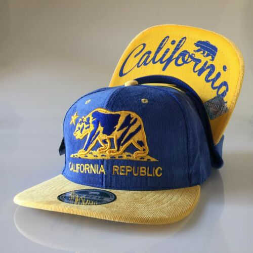 California Republic Snapback Hats Flat Bill Adjustable Corduroy Cap Cali Bear
