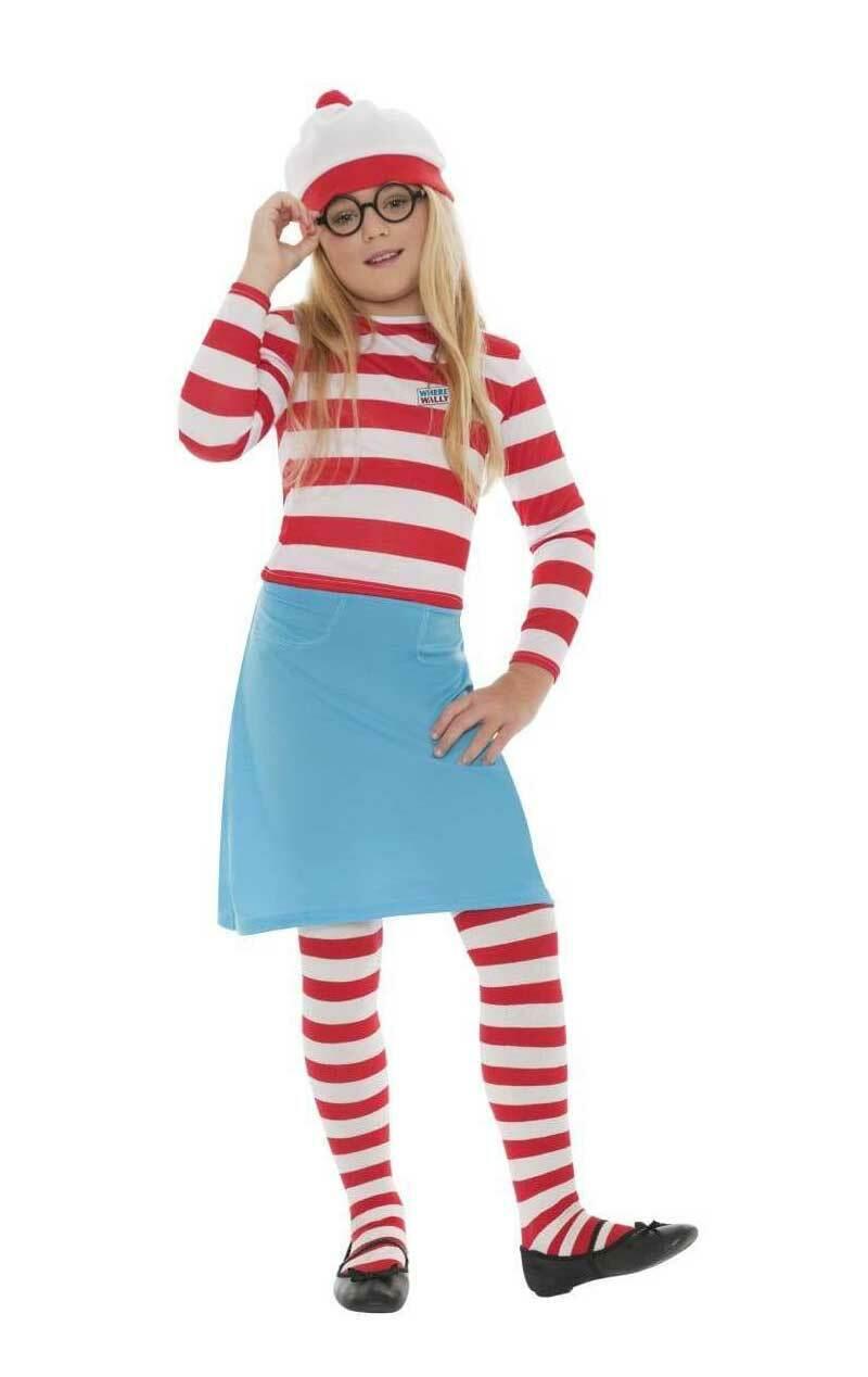 Girls Age 4 - 12 Years Where's Wally Fancy Dress Costume