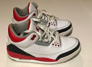 Air Jordan 3 Retro White Fire Red Silver Black Size 7.5