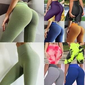 Women/'s High Waist Yoga Pants Leggings Anti-Cellulite Push Up Booty Sports Gym S