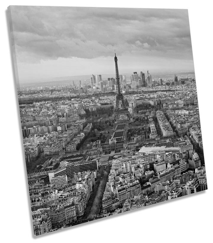 Paris Skyline Eiffel Tower City B&W SQUARE BOX FRAMED CANVAS ART Print