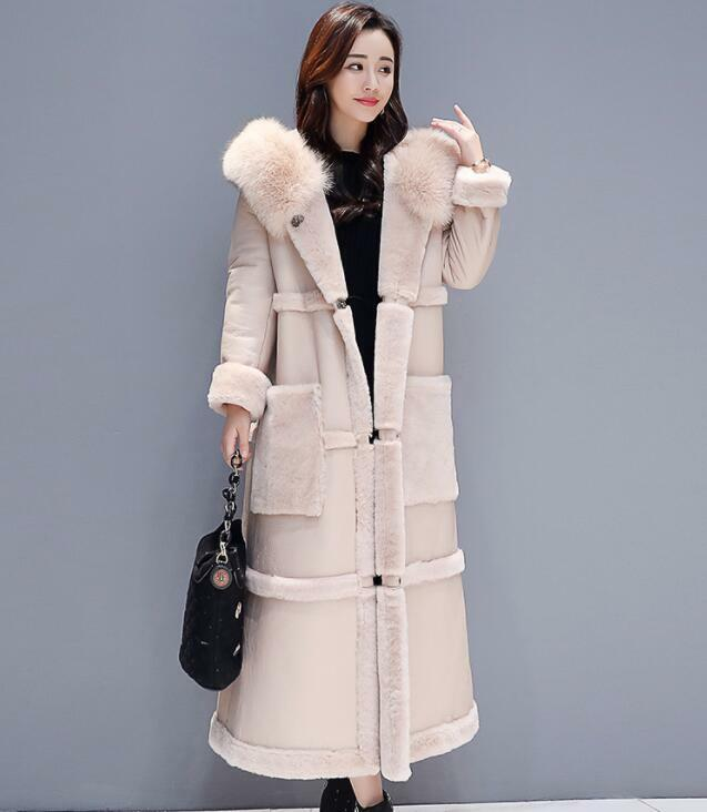 Womens Winter Korea Style Fur Collar Hooded Fur Lining Coats Warm Long Overcoat