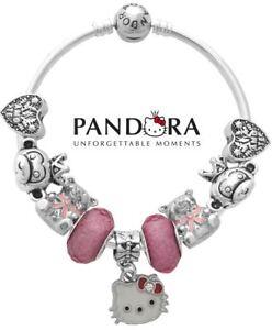 12df4f4eb Authentic Pandora 9 Charm Bead Bangle Bracelet S925 Sterling Silver ...