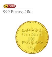 Om Gold 10 gm 24k(999) Purity Gold Coin - WITH TAX INVOICE