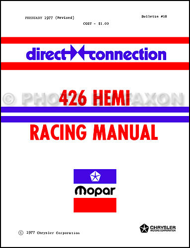 Direct Connection 426 Hemi Racing Manual Dodge Plymouth 1971 1970 1969 1964-1968