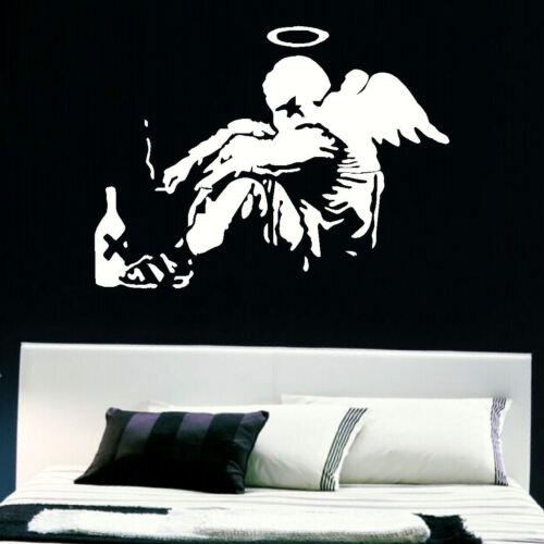 LARGE BANKSY WALL ART OF FALLEN ANGEL STICKER CUT VINYL MATT TRANSFER