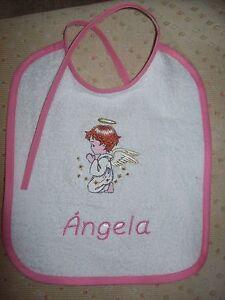 Rosa Logisch Baby Lätzchen Für Mädchen Name Gratis,mit Engel Bestickt Handarbeit
