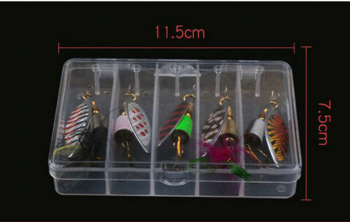 Fishing Spinners Lures 5 Piece Set In Case 7.5 Gram Lure Pike Perch Trout Salmon