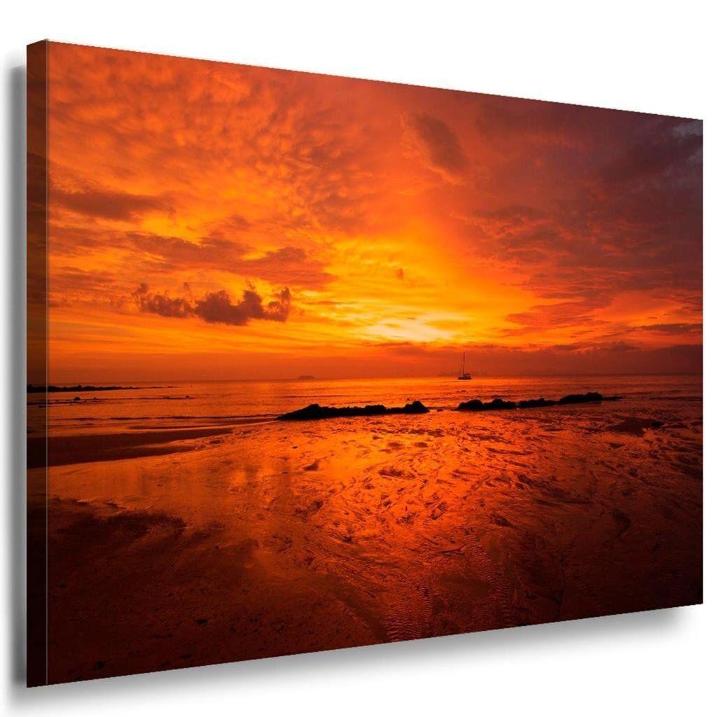Meer Rot Strand Leinwandbild AK Art Bilder Mehrfarbig Kunstdruck Wandbild XXL