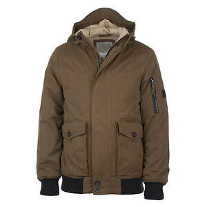 Details about Bench Pallor Bomber Jacket Olive Men's Winter Jacket with Hood