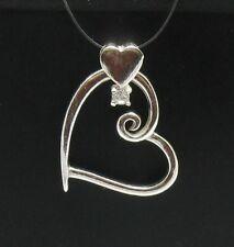 Colgante de plata de ley corazón con circonita cúbica PE000354 SÓLIDO EMPERATRIZ