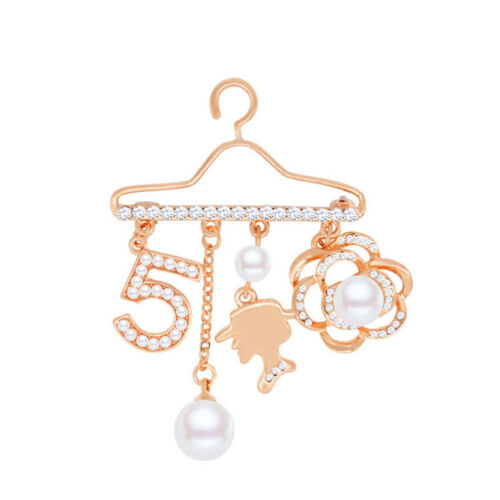 Pearl Gift Rhinestone Pins Crystal Brooch Women Coat Hanger Style Jewelry