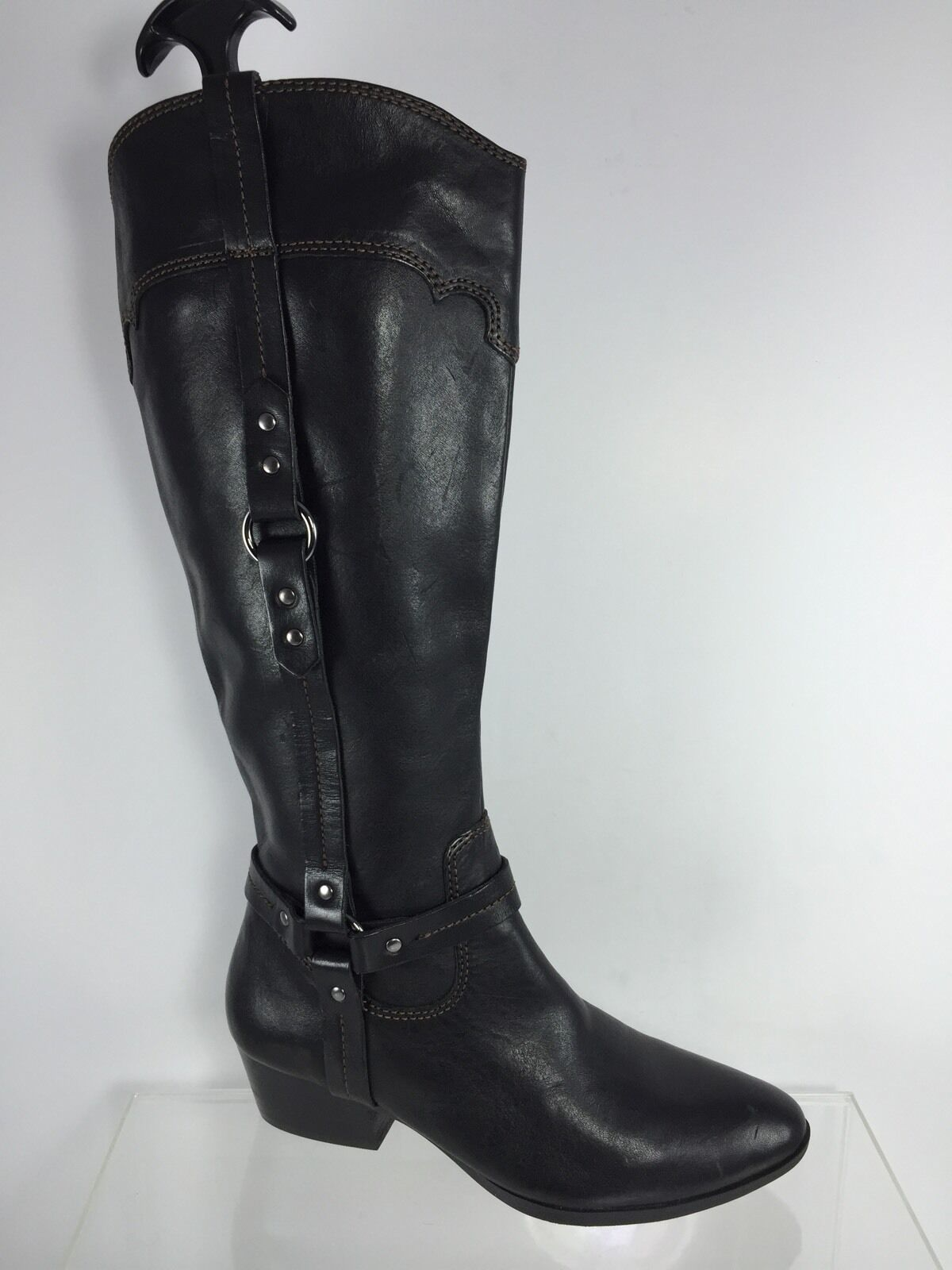 Sofft Womens Black Leather Cowboy Boots 6 M