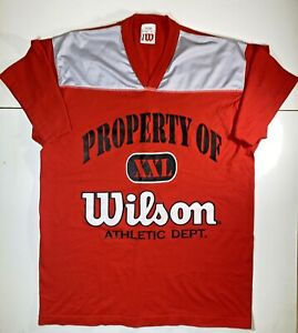 Vintage-80s-Property-of-Wilson-Athletics-T-Shirt-XL-Red-Gray-Sports