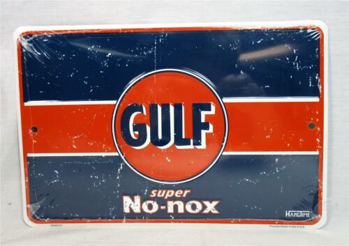 Gulf Super No-nox Metal Novelty Sign Gasoline Garage Auto Shop Man Cave