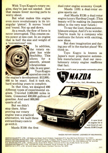 """1969 MAZDA R100 COUPE ROTARY AD A4 POSTER GLOSS PRINT LAMINATED 11.7""""x8.3"""""""