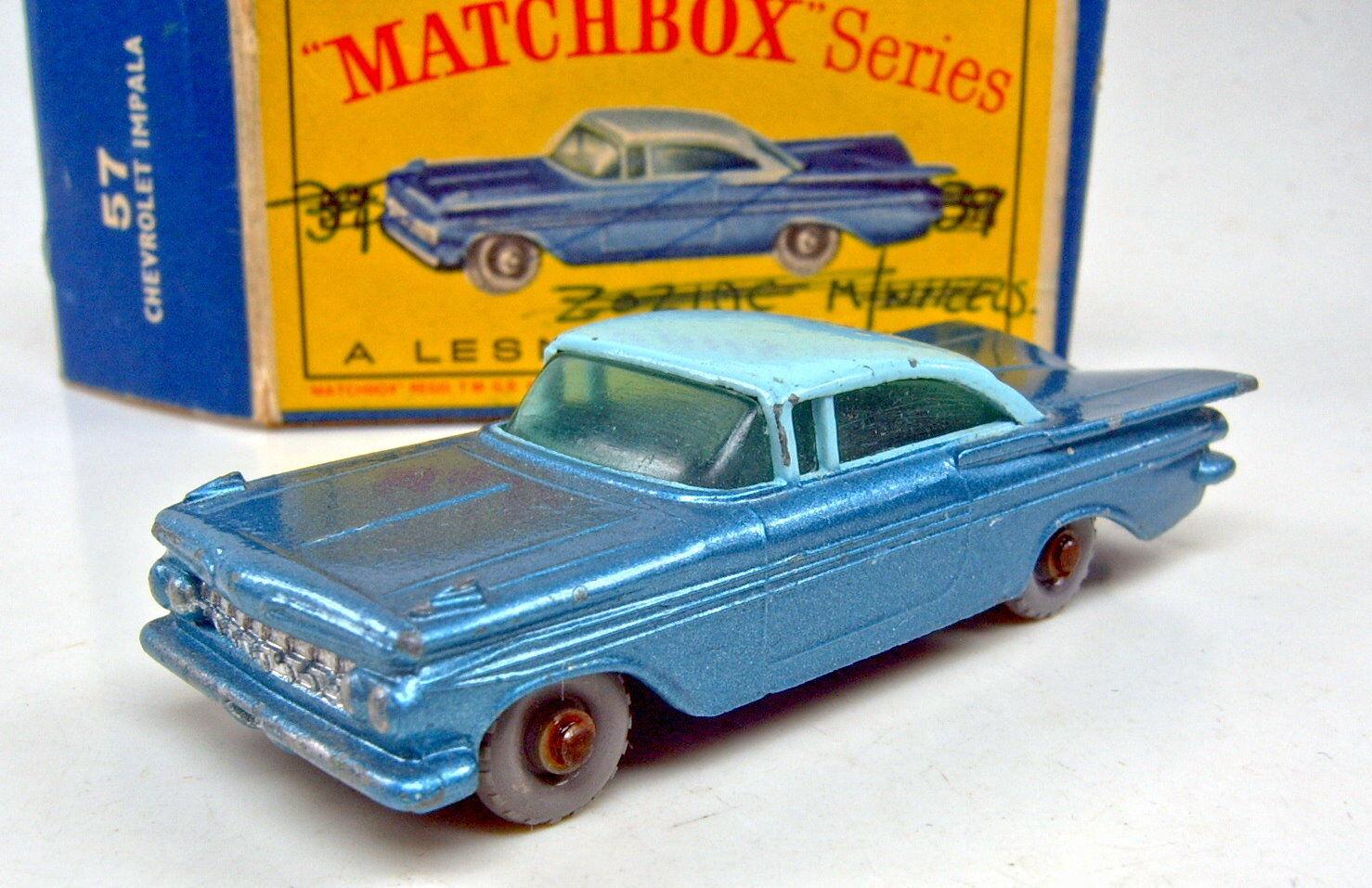 Matchbox RW 57b CHEVROLET IMPALA GRISE roues bleu bleu bleu plaque de sol rareHommes t avec Box | Les Produits Sont Vendu Sans Limitations  | Pour Votre Sélection  94be45