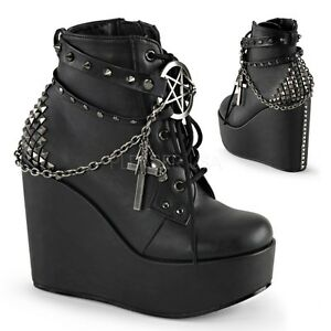 Booties Vegan Schwarz Damen Für 101 Poison Wedge Demonia HPqfHv
