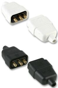 Ponctuel 3 Pin 10 Amp In-line Secteur Câble électrique Connecteur Plug Socket Menuisier En Ligne-afficher Le Titre D'origine êTre Nouveau Dans La Conception