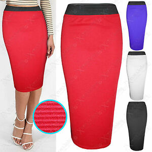 WOMEN-BODYCON-STRETCH-CONTRAST-WAIST-RIBBED-PENCIL-SKIRT-LADIES-LONG-OFFICE-WORK