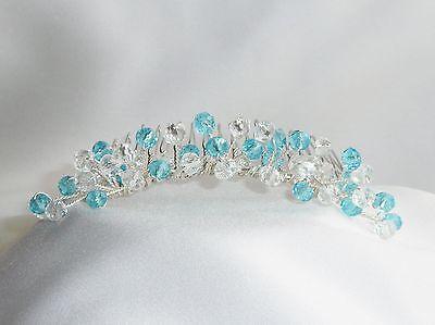 Handmade Bridal Bridesmaid Prom - Aqua / Turquoise Crystal hair Comb Tiara Slide