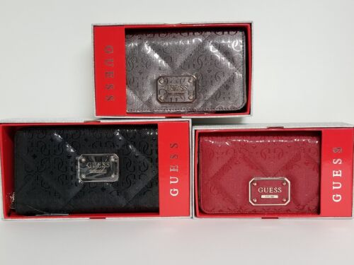 Guess Ophelia Black Zip Around Large Medium Red Wallet Clutch Tech Case NWTIB