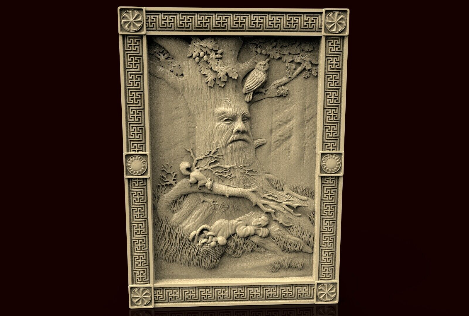 3d STL Model CNC 261 Machine Relief Artcam Ojiganov/_Morning in the forest