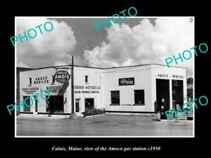 OLD-8x6-HISTORIC-PHOTO-OF-CALAIS-MAINE-THE-AMOCO-OIL-Co-SERVICE-STATION-c1950