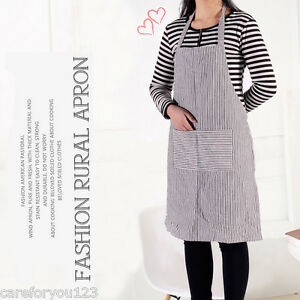 Striped Skirt Waiter Kitchen Restaurant Chef Cooking Apron Bib With Pocket