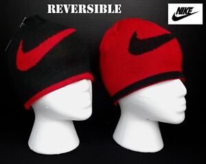 3f91575acf9 NWT NIKE Boys Black   Red Reversible Beanie(Size Youth 8 20) NEW