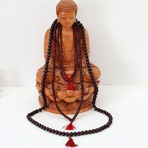 Rosenholz-Mala-Kette-Buddha-Buddhismus-Gebetskette-Rosewood-Indien-Meditation-OM