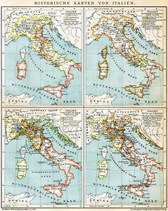Cartina Dell Italia 1815.1899 Storia Italia Dal 650 A C Al 1815 Antica Mappa Storica Italy Old Map Ebay