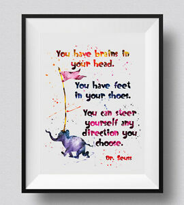 Dr Seuss Quote Baby Shower Watercolor Print Nursery Decor For Kids