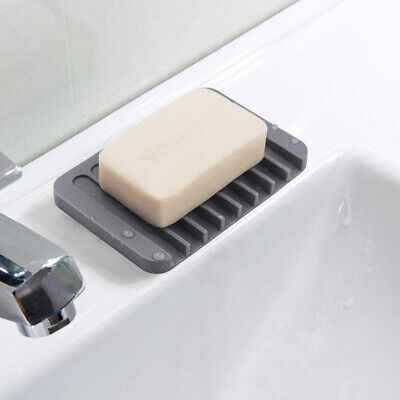 Bathroom Kitchen Soap Dish Storage Holder Soapbox Plate Tray Drain Silicone Soft