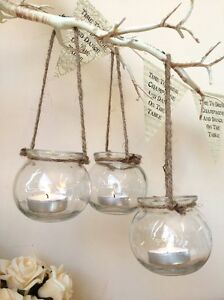 Set-of-3-Clear-Glass-Hanging-Tea-Light-Holders-Candle-Jar-Lantern-Wedding-Decor