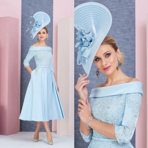 Blue Mother Of the Bride Dresses Beaded Lace Tea Length A-line Guest Gown Plus