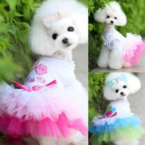 Apparel Clothes Puppy Tutu Princess Dress Lip Love Costume Pet Skirt Lace Dog Uk Ebay