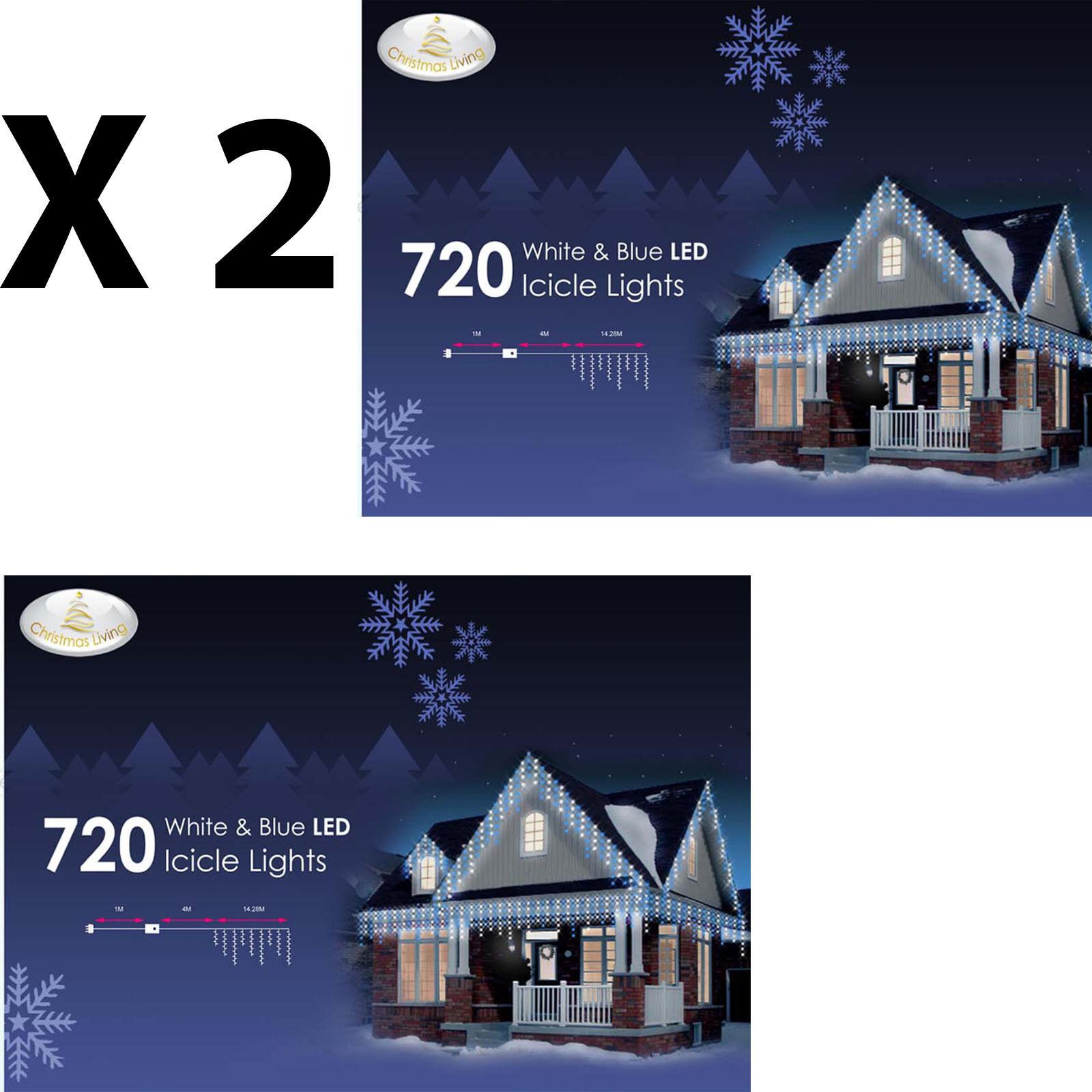 720 DEL Bleu et Blanc Intérieur Extérieur Suspendu Neige Icicle string lot de 2