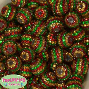 Gold and Red Stripe Rhinestone Chunky Bubblegum Beads 20mm