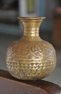 Old-Brass-Unique-Handcrafted-Bird-amp-Flowers-Engraved-Holy-Water-Pot