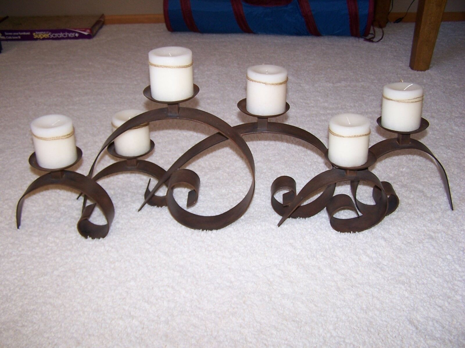 Bronze Candle Holder with 6 Cream Candles from Woodleys