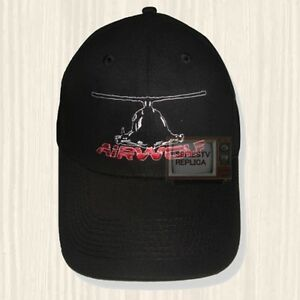 Airwolf Helicopter Black Hat Santini Air String Hawke Logo Cap Embroidered Ebay