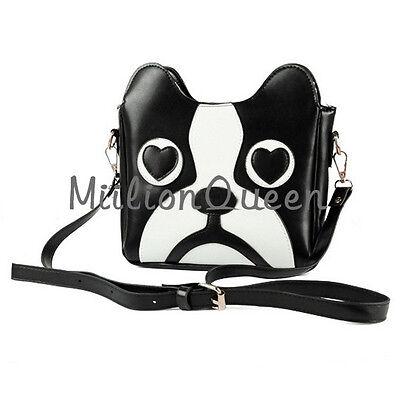 Brand New Black Ladys Dog Shoulder Bag Handbag Cartoon PU Leather Tote Girls