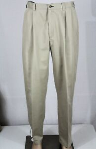 TOMMY-HILFIGER-Men-039-s-34-x-32-Khaki-Pleated-Front-Pants-Chinos-GUC