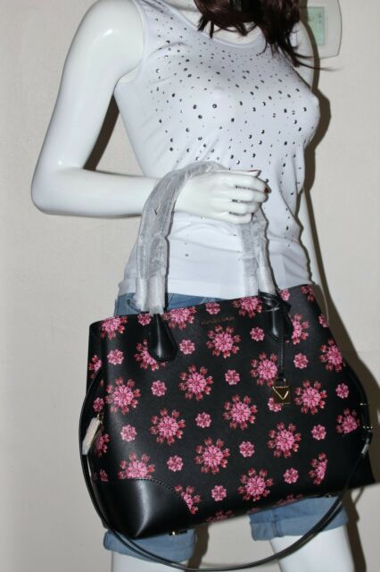 63bc1c00c33a Michael Kors Mercer Corner Large Center Zip Floral Tote Black Ultra Pink