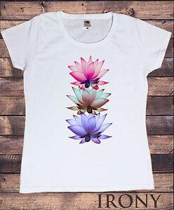 f0eec80f8c La imagen se está cargando Camiseta-para-dama -Tres-Lotus-flores-Yoga-meditacion-